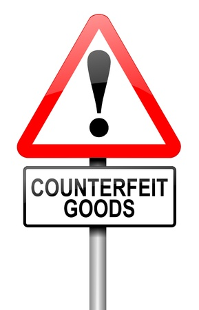 faked: Illustration depicting a road traffic sign with a counterfeit goods concept. White background.