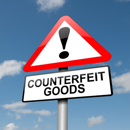 Illustration depicting a road traffic sign with a counterfeit goods concept. Blue sky background.