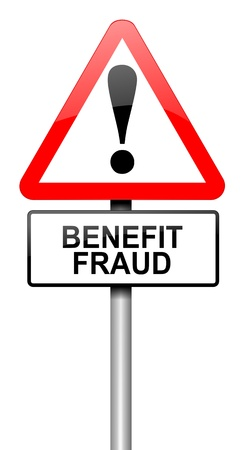 theft prevention: Illustration depicting a road traffic sign with a benefit fraud concept. White background. Stock Photo