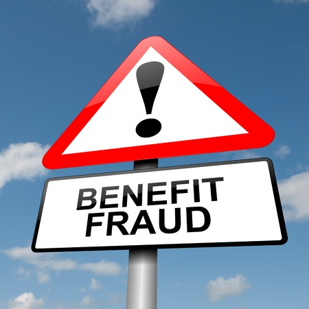 theft prevention: Illustration depicting a road traffic sign with a benefit fraud concept. Blue sky  background. Stock Photo