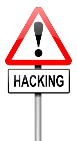scammer: Illustration depicting a road traffic sign with a hacking concept. White background.