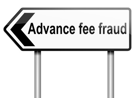 scammer: Illustration depicting a road traffic sign with an advance fee fraud  concept. White background.