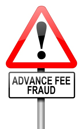 Illustration depicting a road traffic sign with an advance fee fraud  concept. White background. Stock Illustration - 14033877