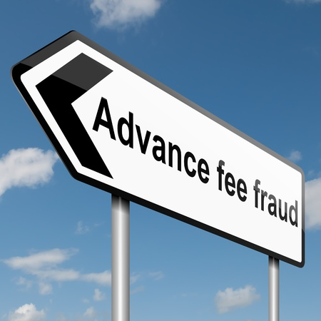 scammer: Illustration depicting a road traffic sign with an advance fee fraud  concept. Blue sky background. Stock Photo