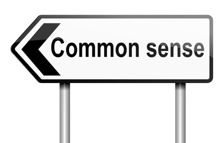 Illustration depicting a road traffic sign with a common sense concept. White background.
