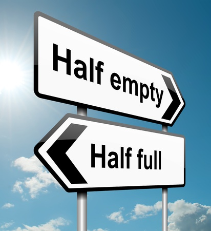 half full: Illustration depicting a road traffic sign with a half empty, half full concept. White background.