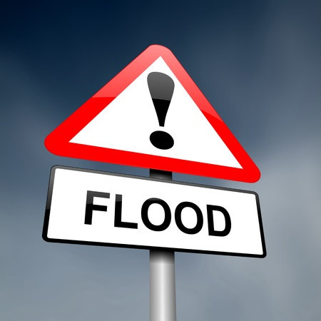 environmental hazard: Illustration depicting a road traffic sign with a flood warning. Dark sky background. Stock Photo
