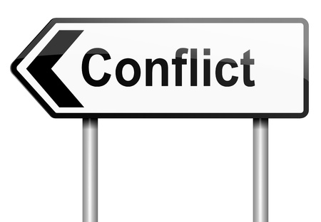 relationship problems: Illustration depicting a road traffic sign with a conflict concept. White background.