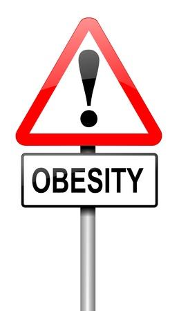 obesidad infantil: Ilustración que muestra una señal de tráfico con un concepto de la obesidad. Blanco fondo.