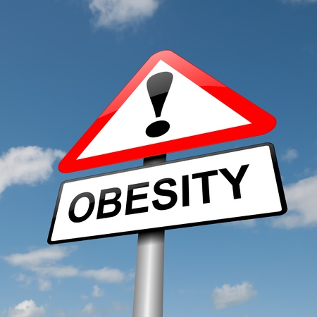 Illustration depicting a road traffic sign with an obesity concept. Blue sky background.