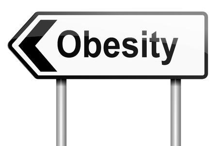 obesidad infantil: Ilustraci�n que muestra una se�al de tr�fico con un concepto de la obesidad. Blanco fondo.