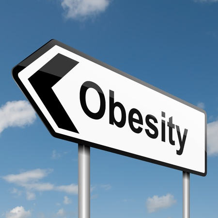 lifestyle disease: Illustration depicting a road traffic sign with an obesity concept. Blue sky background.