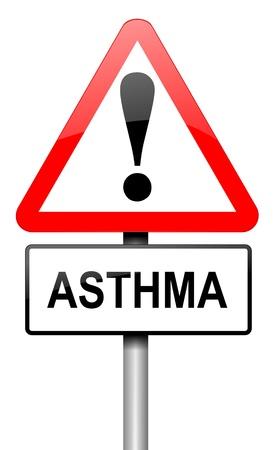 asma: Ilustración que muestra una señal de tráfico con un concepto de asma. Blanco fondo.