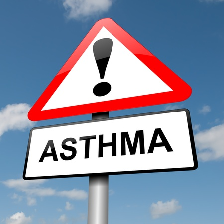 Illustration depicting a road traffic sign with an asthma concept. Blue sky background. Stock Illustration - 14103189
