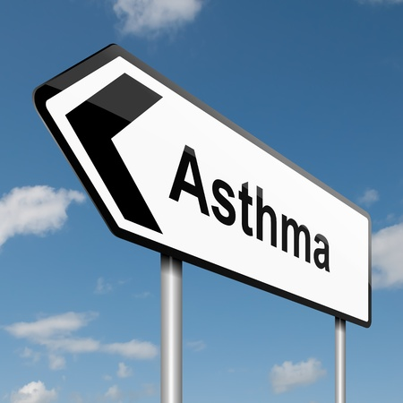 asthma: Illustration depicting a road traffic sign with an asthma concept. Blue sky background.