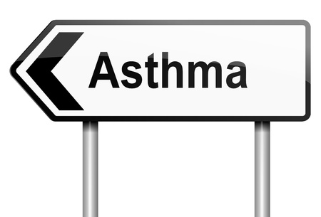 bronchial asthma: Illustration depicting a road traffic sign with an asthma concept. White background.