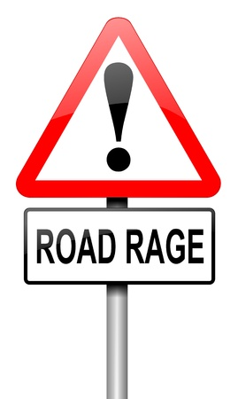 Illustration depicting a road traffic sign with a road rage concept  White background  Stock Illustration - 14103171
