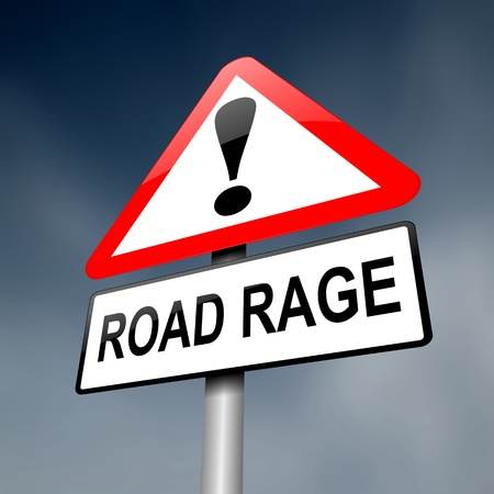 dangerous road: Illustration depicting a road traffic sign with a road rage concept  Dark sky background