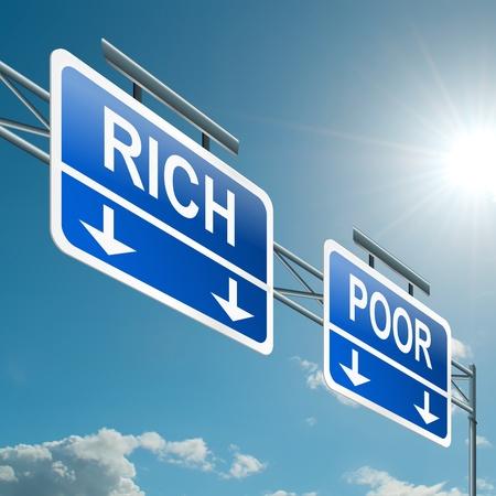 Illustration depicting a highway gantry sign with a rich or poor concept  Blue sky background  illustration