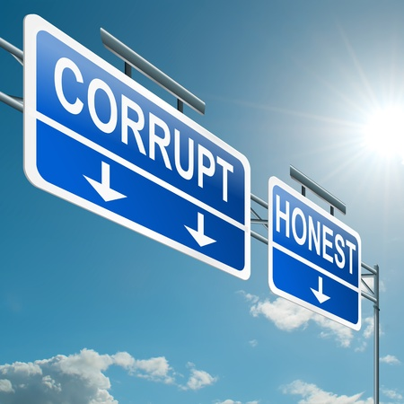 corrupt: Illustration depicting a highway gantry sign with a corrupt or honest concept  Blue sky background  Stock Photo