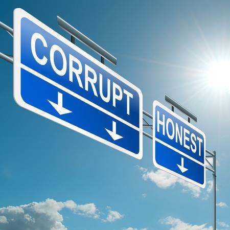 etica: Ilustración que muestra una señal en la carretera de pórtico con un concepto de fondo de cielo azul corruptos u honestos Foto de archivo