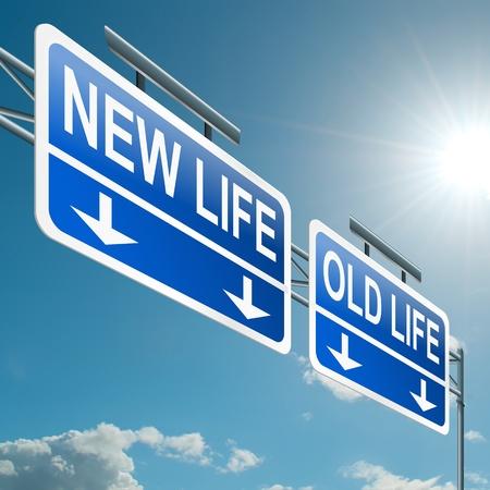 divorcio: Ilustraci�n que muestra una se�al en la carretera de p�rtico con una nueva vida o de fondo antiguo concepto de la vida Cielo azul