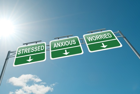 worry: Illustration depicting a highway gantry sign with a stress concept  Blue sky background