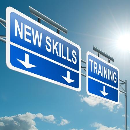 umiejętności: Ilustracja przedstawiająca znak suwnicą autostrady o nowe umiejętności i koncepcja Błękitnego szkolenia tle nieba Zdjęcie Seryjne
