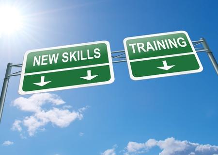 Illustratie geeft een snelweg gantry bord met een nieuwe vaardigheden en trainingsconcept Blauwe hemel achtergrond