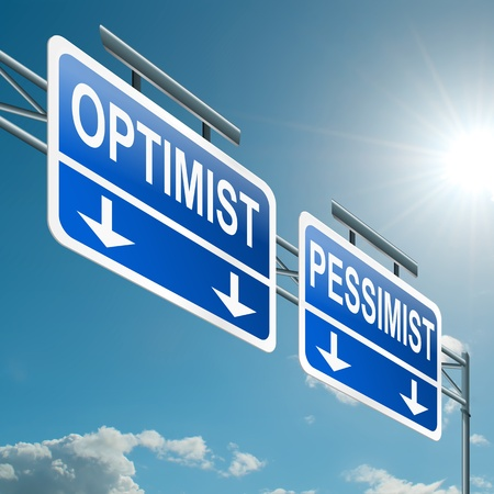 Illustration depicting a highway gantry sign with an optimist or pessimist concept  Blue sky background Stock Illustration - 14103200
