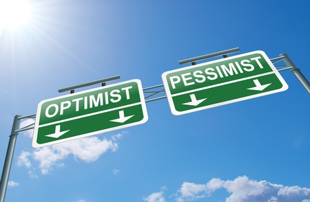 optimist: Illustration depicting a highway gantry sign with an optimist or pessimist concept  Blue sky background