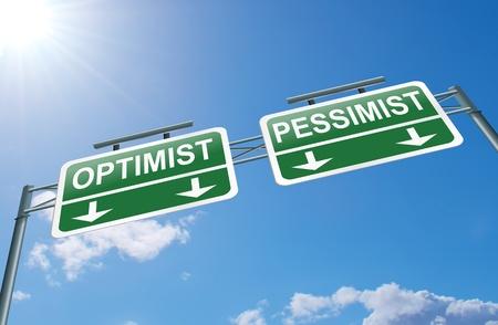 pessimist: Illustration depicting a highway gantry sign with an optimist or pessimist concept  Blue sky background