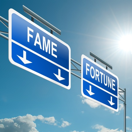 good fortune: Illustration depicting a highway gantry sign with a fame and fortune concept  Blue sky background