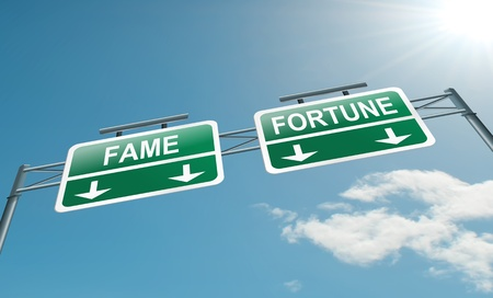 wealthy lifestyle: Illustration depicting a highway gantry sign with a fame and fortune concept  Blue sky background