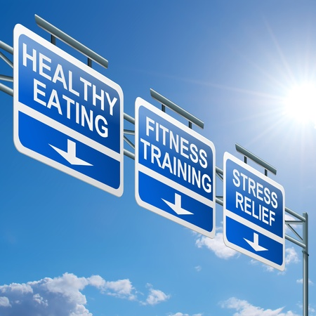 low relief: Illustration depicting a highway gantry sign with a healthy lifestyle concept  Blue sky background