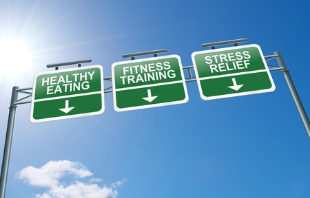 fat loss: Illustration depicting a highway gantry sign with a healthy lifestyle concept  Blue sky background