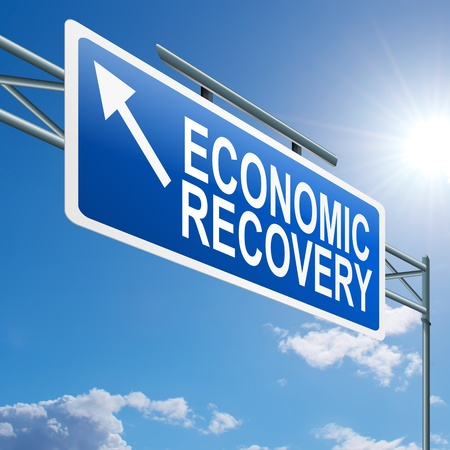 global crisis: Illustration depicting a highway gantry sign with an economic recovery concept  Blue sky background