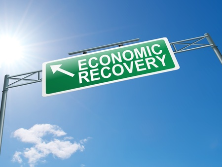 Illustration depicting a highway gantry sign with an economic recovery concept  Blue sky background Stock Illustration - 14191202