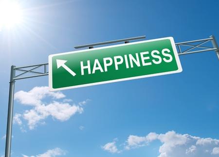 행복 개념 푸른 하늘 배경으로 고속도로 갠트리 기호를 묘사 한 그림