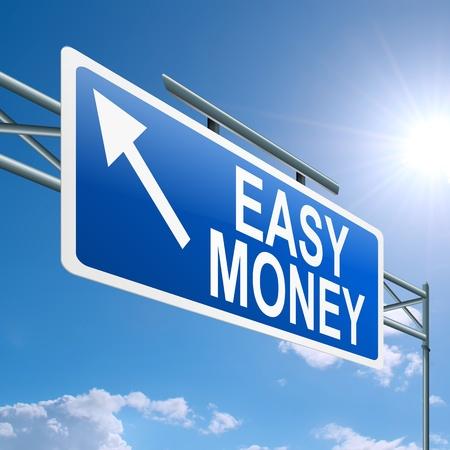 Illustration représentant un panneau routier portique avec un concept de l'argent facile. Fond de ciel bleu.