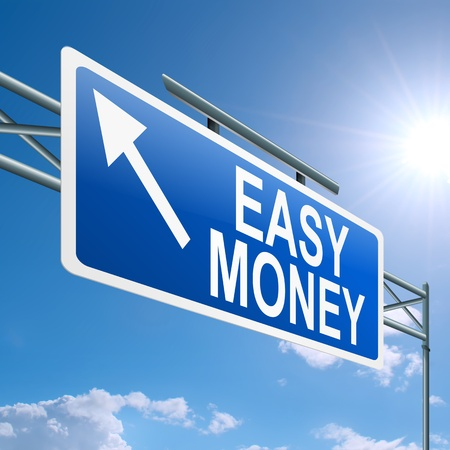 money making: Illustration depicting a highway gantry sign with an easy money concept. Blue sky background. Stock Photo