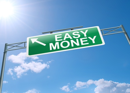 scamming: Illustration depicting a highway gantry sign with an easy money concept. Blue sky background. Stock Photo