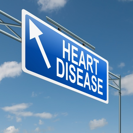 chest disease: Illustration depicting a highway gantry sign with a heart disease concept. Blue sky background.
