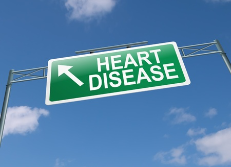 heart disease: Ilustración que representa una señal de carretera pórtico con un concepto de enfermedad cardíaca. Cielo azul de fondo.
