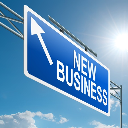 starting: Illustration depicting a highway gantry sign with a new business concept. Blue sky background. Stock Photo