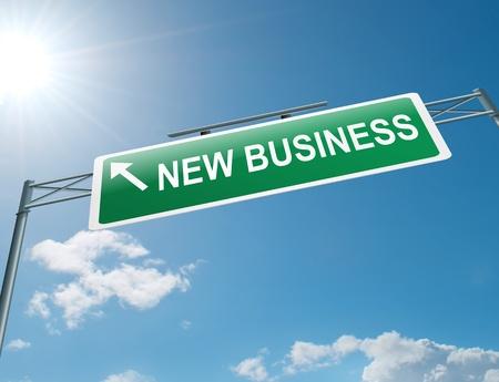 Ilustración que muestra una señal en la carretera de pórtico con un nuevo concepto de negocio. Cielo azul de fondo.
