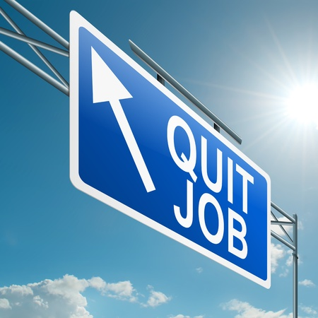 quit: Illustration depicting a highway gantry sign with a quit job concept. Blue sky background. Stock Photo