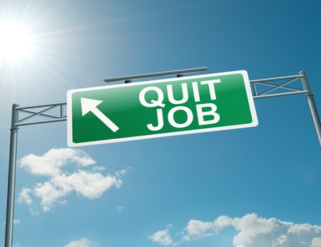 resign: Illustration depicting a highway gantry sign with a quit job concept. Blue sky background. Stock Photo