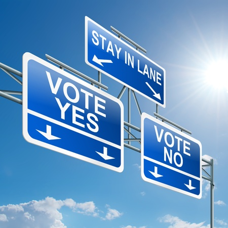 answers highway: Illustration depicting a highway gantry sign with a voting concept. Blue sky background.