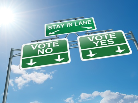 highway sign: Illustration depicting a highway gantry sign with a voting concept. Blue sky background.